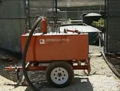 Demonstration of steam treatment for infested nursery soils at the NORS-DUC facility. Photo from KTVU TV.