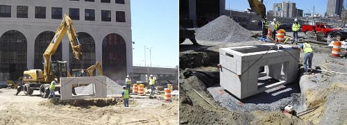 A precast concrete unit is lifted into place, then set and leveled.