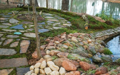 The moss and stone patio illustrate erosion remediation with Polytrichum and Sphagnum mosses. Photo by Annie Martin, www.mountainmoss.com