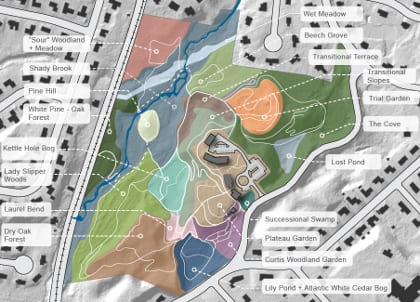The master plan for Garden in the Woods organizes the property into Landscape Character Zones that describe existing site conditions and recommended plant communities.