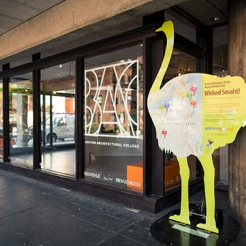 Sciencetogo.org's ostrich mascot recognized the environmental benefits of the BAC green alley project.