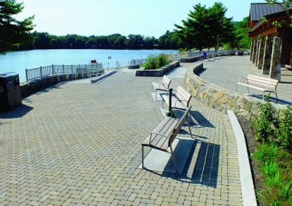 Houghton's Pond Recreation Area in Milton, MA utilizes Pavers by Ideal - Permeable Aqua-Bric®.