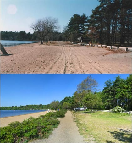 """During 50 years until the 1990s, a long stretch of the lake shore had been cleared of vegetation and spread with beach sand. These """"before"""" and """"after"""" photos, both of this same stretch, show how the introduction of shade trees and buffer plantings can be very successful in just 12 years. The plantings add habitat and water-cleansing value, create a multi-use path along the shore, and do not detract from the pleasure of visitors who want a piece of sand to stretch out on or dig in!"""