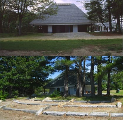 Besides planting seeds of ecological restoration, the project's effect has been to invite the town to enhance and beautify recreational and educational amenities and offerings at the park. Here, views of the bath house in 2002 (left) and today.