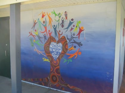 Local students have decorated the bath house walls with beautiful artwork.