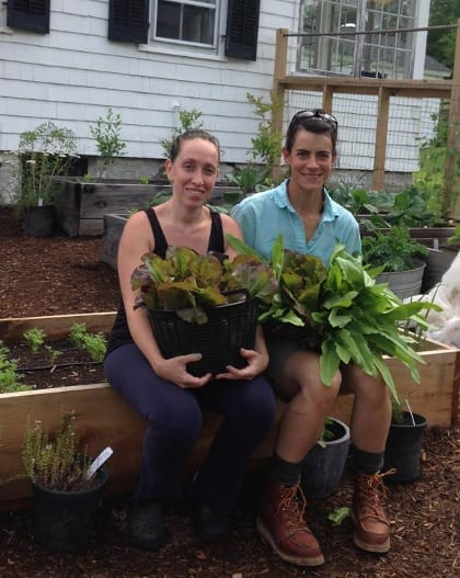 Happy client and I in the garden with lots of lettuce. Cochecton NY June 2015