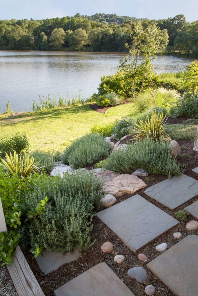 Densely planted, xeric slope and dry-laid stonework terraces slow down water and prevent runoff to the nearby pond. Design: Christie Dustman & Co., Installation: A Yard & A Half Landscaping Cooperative; Photo: Lynne Damianos