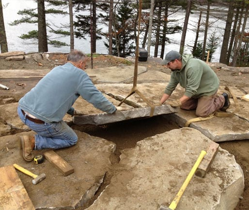 My father and one of our younger employees build a outdoor living room patio in Edgecomb, Maine.