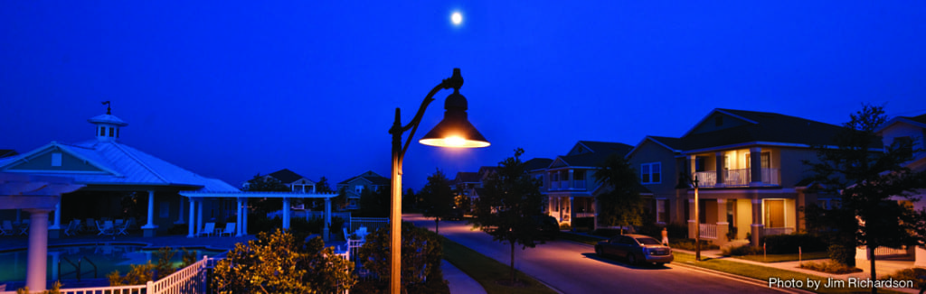 International Dark Sky Association approved streetlights provide safe nighttime lighting.