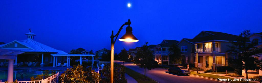 International Dark Sky Association approved streetlights provide safe nighttime lighting.