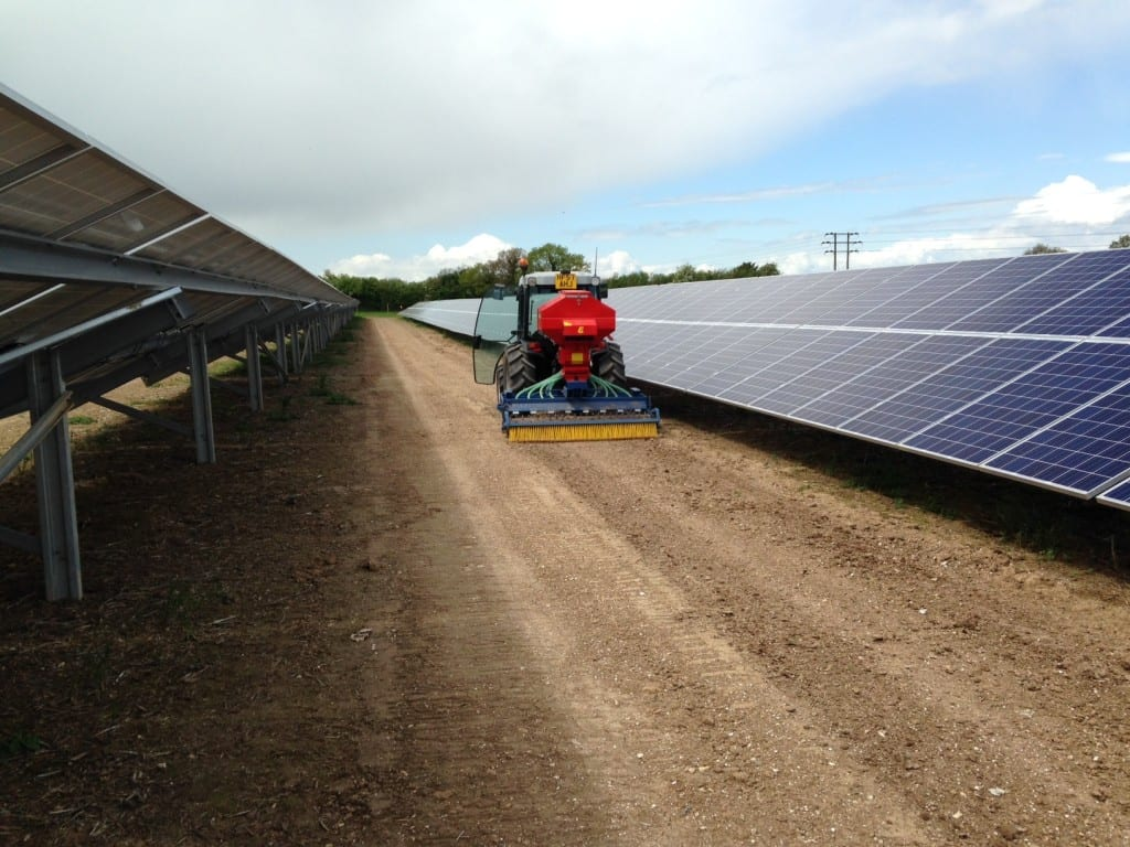 Seeding a solar installation. Photo: Nick Mann.