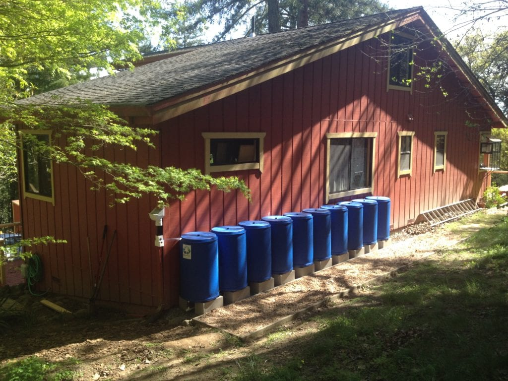 This 10-barrel BlueBarrel Rainwatwer Catchment System™ is one of two at this home, for maximized water storage.