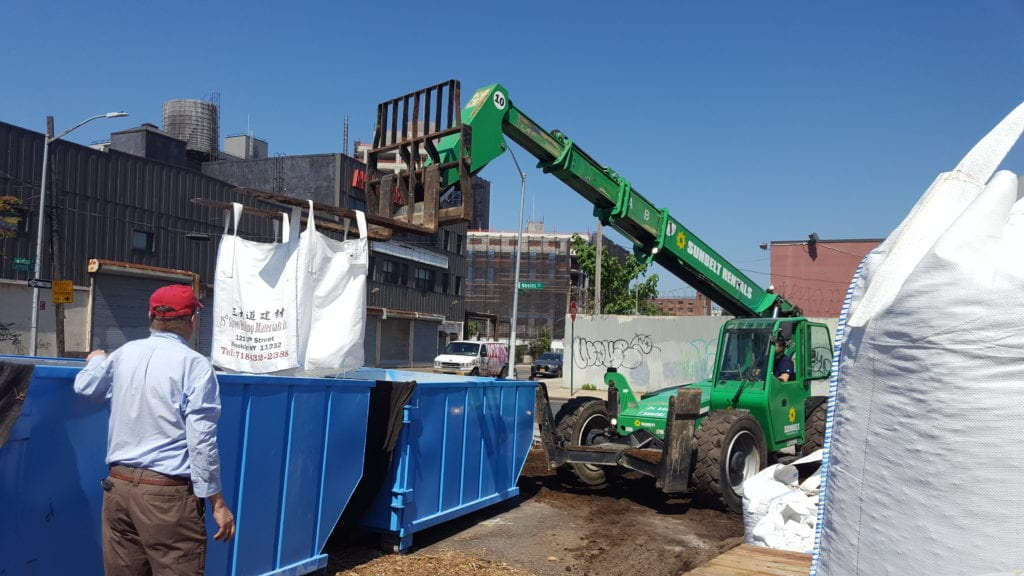 Compost from GCC was mixed into the soil used to fill the dumpsters at the pop-up nursery lot.