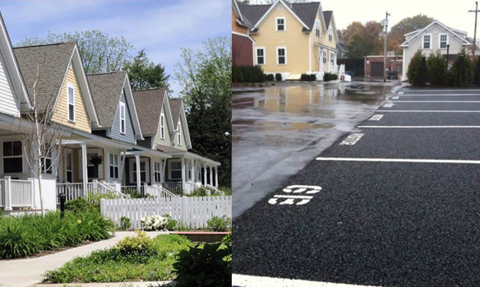 Bioretention gardens and permeable pavement filter and infiltrate stormwater runoff – Cottages on Greene, East Greenwich, RI. Photo: Randall Arendt.