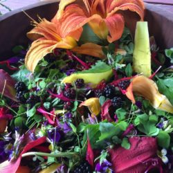Colorful flower power July salad.
